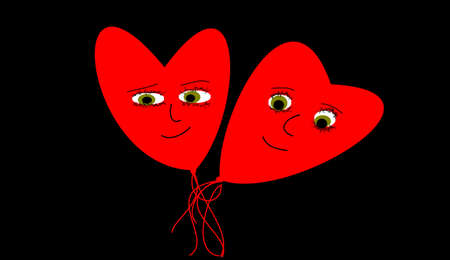 the two hearts with face