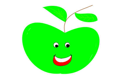 the green apple with face