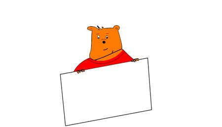 teddybear and the placard