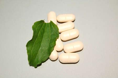 leaf and pills