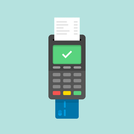 Payment by credit card using POS terminals, approved payment. Flat illustration.