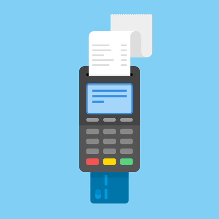 Payment by credit card using POS terminals. Flat illustration. Stock fotó - 71671818