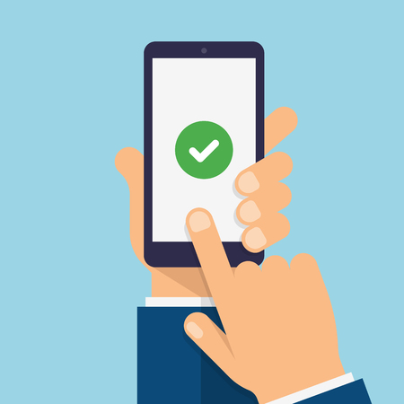 Check mark on smartphone screen. Hand holds the smartphone and finger touches screen. Modern Flat design illustration.