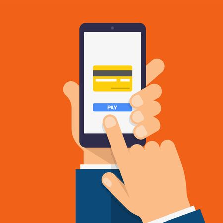 Payment page and credit card on the smartphone screen. Hand holds the smartphone and finger touches screen. Modern Flat design illustration. 일러스트