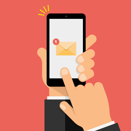 New Email Notification on the smartphone screen. Hand holds the smartphone and finger touches screen. Modern Flat design illustration.