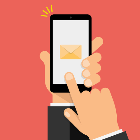 New Message Notification on smartphone screen. Hand holds the smartphone and finger touches screen. Modern Flat design illustration.