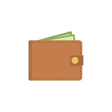 Wallet icon. Vector flat wallet illustration.