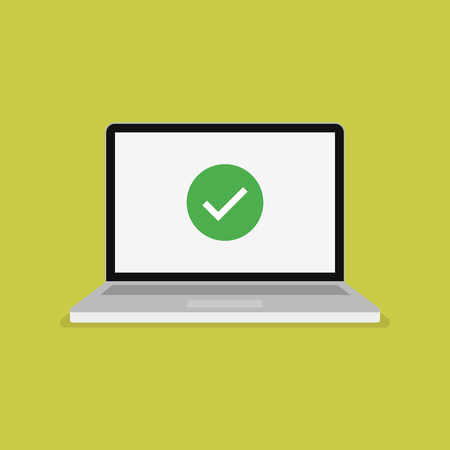 Green checkmark icon on computer screen. Modern flat vector illustration.