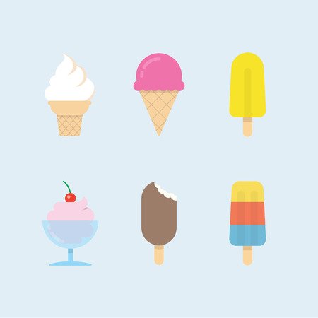 Set of ice cream icons. Vector ice cones, popsicles and ice cream balls in cups. Modern flat vector design. 일러스트