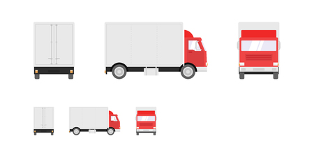 Truck illustration. Side, front, back views of transport truck isolated on white background. Pixel perfect, modern flat design illustration. 일러스트