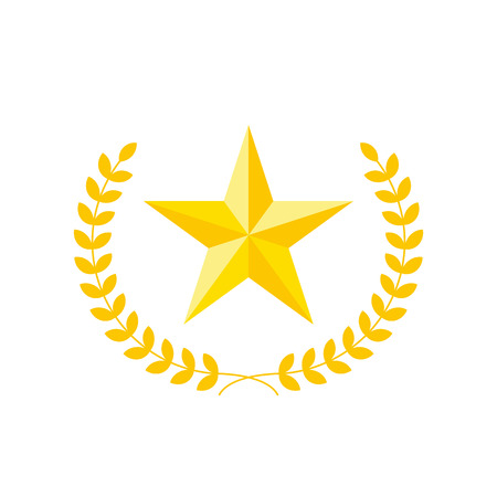 Five-pointed star vector icon with laurel wreath. Modern flat golden star illustration. 일러스트