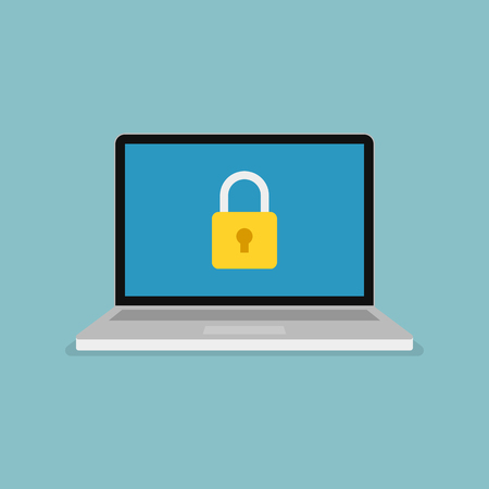 Padlock icon on computer screen. Web security modern flat vector illustration. 일러스트