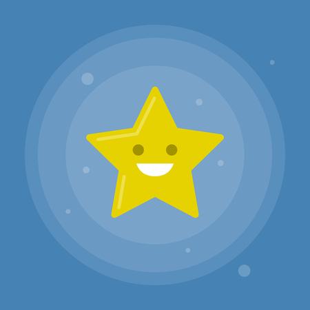 Vector star icon with smile on blue background. Modern flat illustration. Reklamní fotografie - 83303071