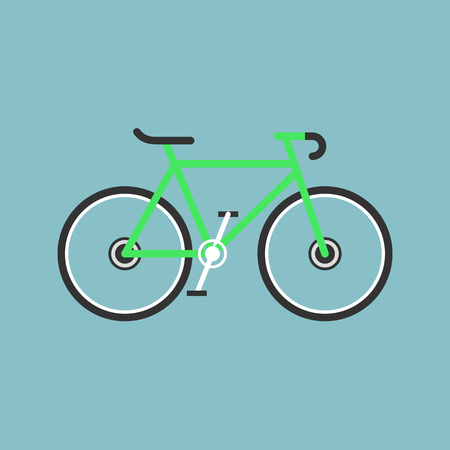 Bicycle modern flat illustration. Lime green bike vector icon. Reklamní fotografie - 83303072