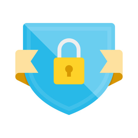 Security badge icon with shield and padlock. Modern flat vector illustration. 일러스트