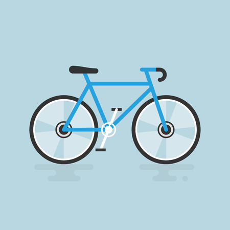 Bicycle modern flat illustration. Blue bike vector icon. 일러스트