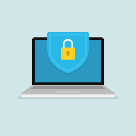 Badge with padlock icon on computer screen. Web security modern flat vector illustration.