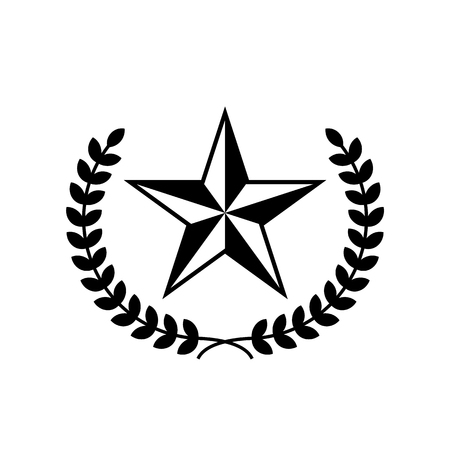 Five-pointed star vector icon with laurel wreath. Black star on white background. 일러스트