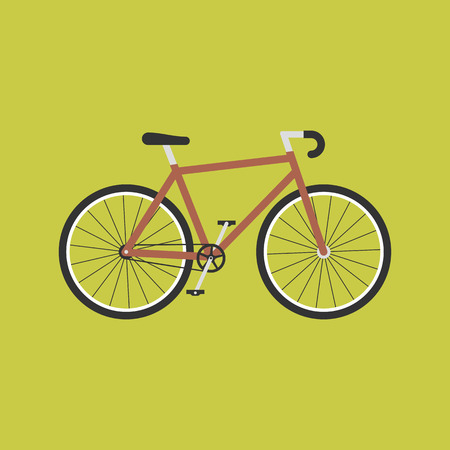 Bicycle modern flat illustration. Red bike vector icon. 일러스트