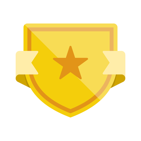 Badge icon with shield and star. Modern flat vector illustration. 일러스트