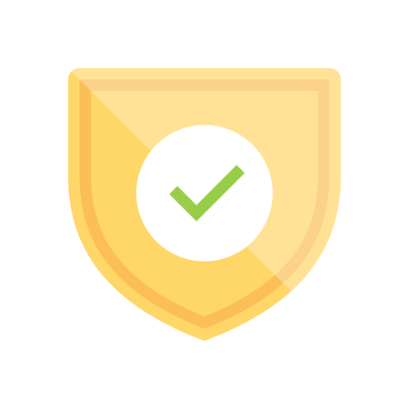 Badge icon with shield and check mark. Modern flat vector illustration.