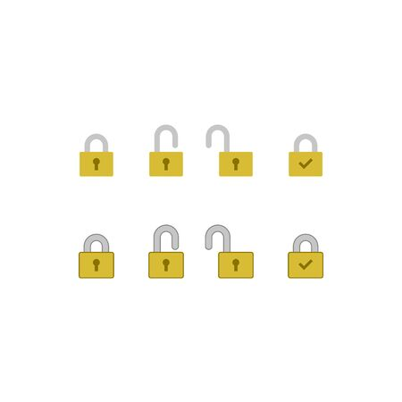 Padlock icon set. Modern Flat Icons.