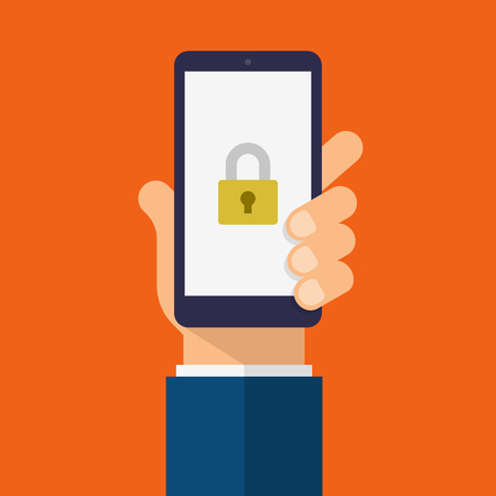 Padlock icon on smartphone screen. Hand holds the smartphone. Modern Flat design illustration.