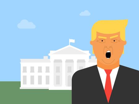 Icône de vecteur Donald Trump. Illustration plate du président des États-Unis d'Amérique avec la Maison Blanche en arrière-plan. Banque d'images - 83252756