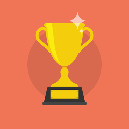Trophy Cup Icon on soft red background.  Vector Flat modern illustration.