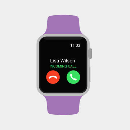 Smartwatch displaying incoming call. Modern flat vector illustration. Ilustrace