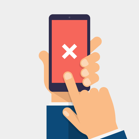 Cross mark on smart-phone screen. Hand holding smart phone. Finger on mobile device screen. Modern flat vector illustration.