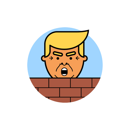 Donald Trump behind a brick Wall. Vector flat illustration of the President of the United States of America isolated on white background. Reklamní fotografie - 83252776
