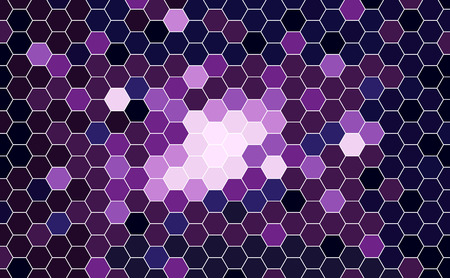 Vector Geometric Galaxy background with Hexagons. Blue, Magenta, Violet Hexagons. 일러스트