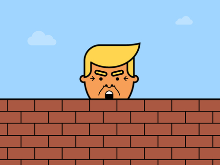 Donald Trump behind a brick Wall. Vector flat illustration of the President of the United States of America.