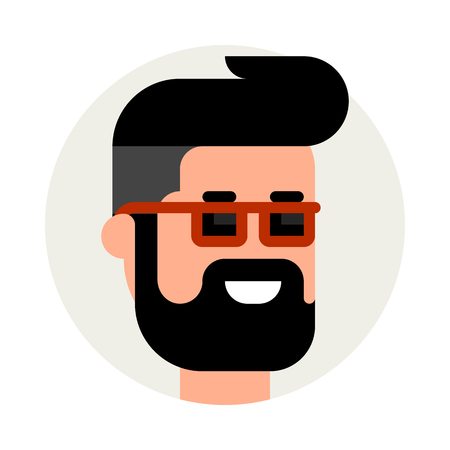 Hipster icon. Vector flat illustration. Smiling bearded man with sunglasses.