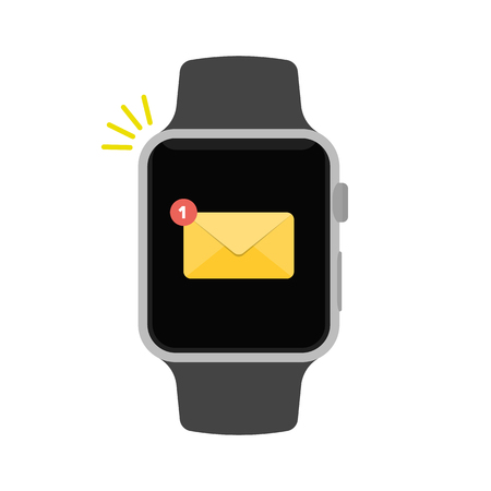 Smart watch flat vector illustration. Smartwatch ringing and displaying new message notification. Modern style.