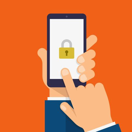 Lock on smartphone screen. Hand holds the smartphone and finger touches screen. Modern Flat design illustration.