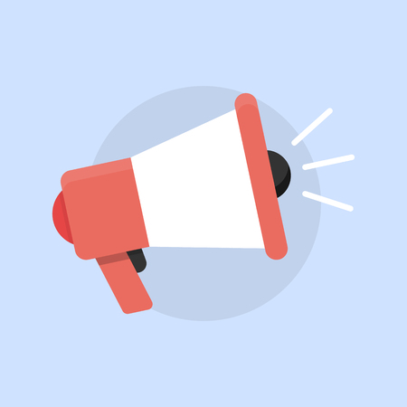 Megaphone flat vector icon on blue background