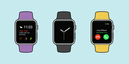 Smartwatches displaying various information in three different color whit outline. Modern flat vector illustration. Reklamní fotografie - 83255739