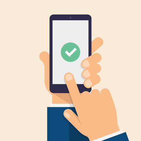 Check mark on smart-phone screen. Hand holding smart phone. Finger on mobile device screen. Modern flat vector illustration. Ilustrace