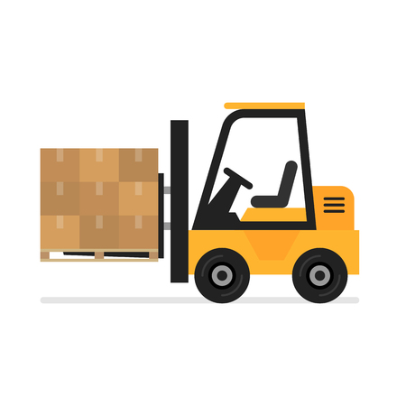 Forklift flat vector icon. Illustration of forklift truck is raising a pallet. 일러스트