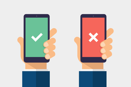 Check and cross mark on smartphone screen. Hand holding smart phone. Modern Flat design illustration.