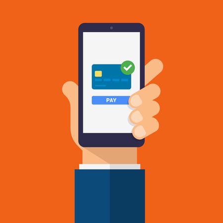 Payment page and credit card on smartphone screen with pay button. Hand holds the smartphone. Modern Flat design illustration.