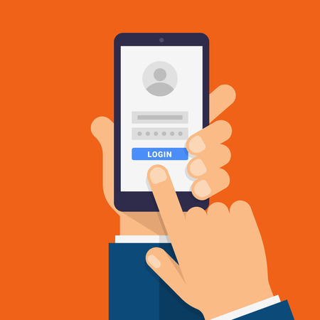 Log in page on smartphone screen. Hand holds the smartphone and finger touches screen. Modern Flat design illustration. Ilustrace