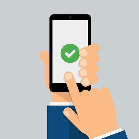 Check mark on smart-phone screen. Hand holding smart phone. Finger on mobile device screen. Creative modern flat design. Ilustrace