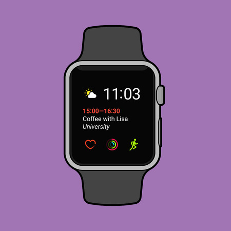 Smartwatch displaying various information. Modern flat vector illustration. 일러스트