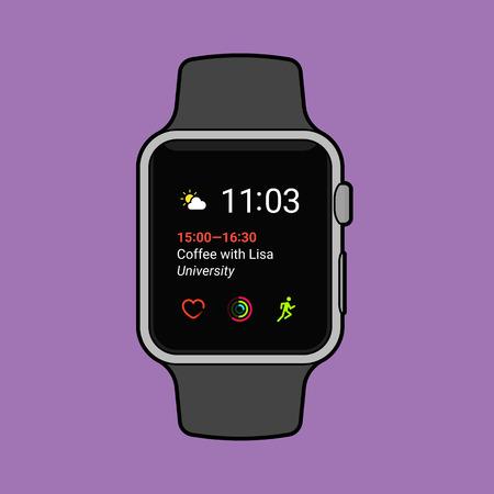 Smartwatch displaying various information. Modern flat vector illustration. Ilustrace