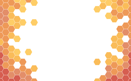Vector Geometric background with Orange and Red Hexagons.