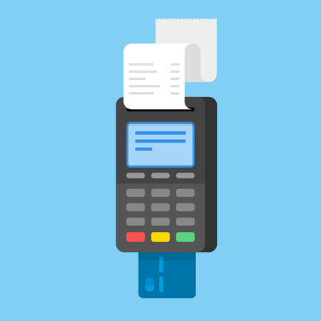 Payment by credit card using POS terminal. Flat illustration. Reklamní fotografie - 83255855