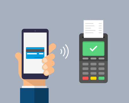 Payment by credit card using POS terminal and smartphone, approved payment. Wireless payment flat illustration.